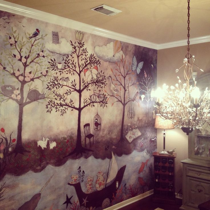Anthro Enchanted Forest Mural By Rebecca Rebouche Already Hanging On The Wall Ls Big Girl