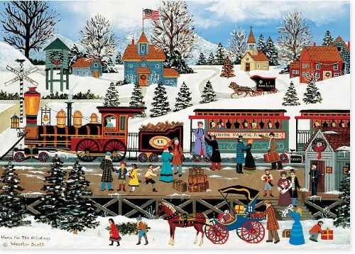 Winter Train Station Deluxe Boxed Holiday Cards Christmas