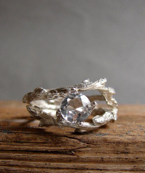 Twig Engagement Ring White Topaz Double Unique Branch