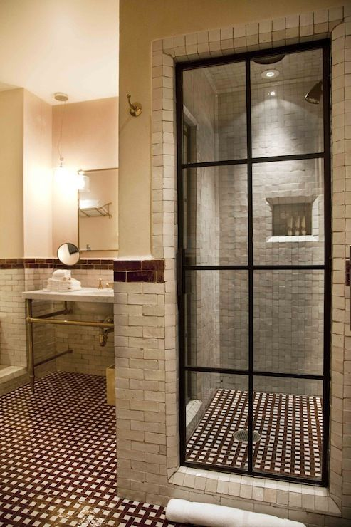 The Greenwich Hotel Bathrooms Steel Glass Paned Shower Door Steel Glass Shower Door Stone