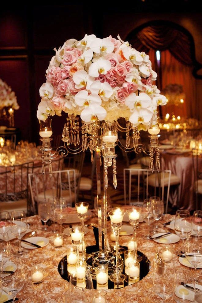Roses And Orchids On A Candelabra Photographer Tim Otto Fl Design Blush