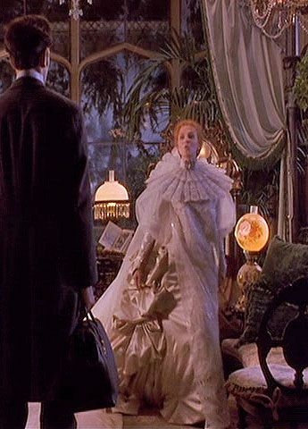 Lucy, white funeral/wedding dress worn by Frost in Bram Stoker's Dracula. side front view.: