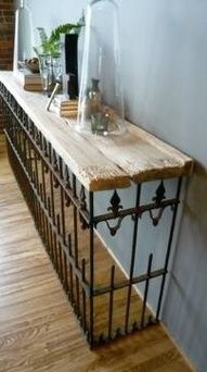 Awesome repurposed console table. You could do a variation of this with salvaged