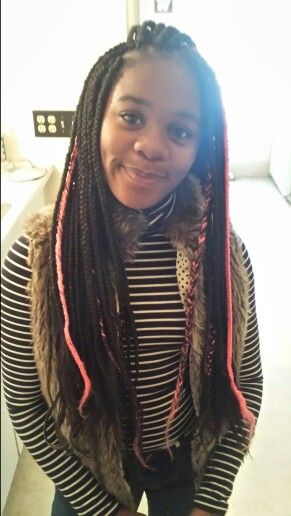 Kids Box Braids With A Pop Of Color Natural Hair