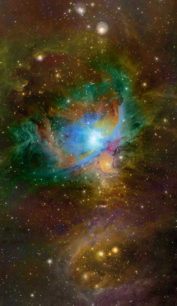 Great Orion Nebula, M42, Hubble Palette, WISE Infrared ...