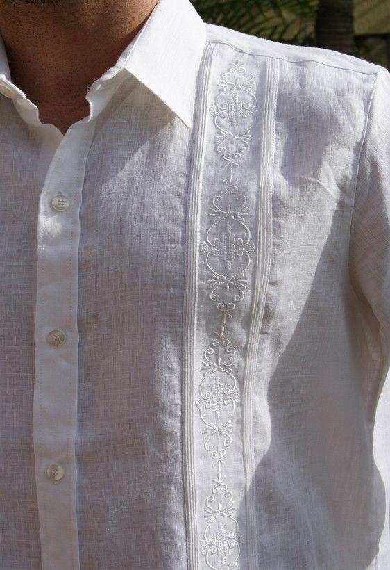 Non Pockets Wedding Guayabera Premium Linen Long Sleeve