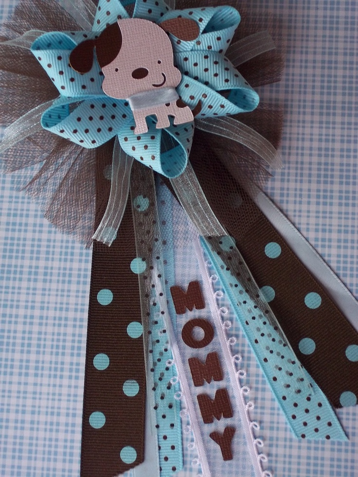 "Puppy Baby Shower ""Mommy"" CORSAGE in Brown and Blue. $18.00, via"