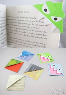 Make your own bookmark corner characters- even big kids love these!: