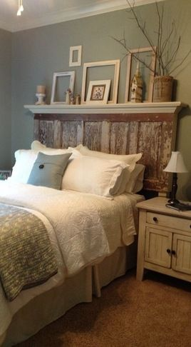 Love the headboard with the mantel/shelf overhang ~ shelf over the bed in Califo