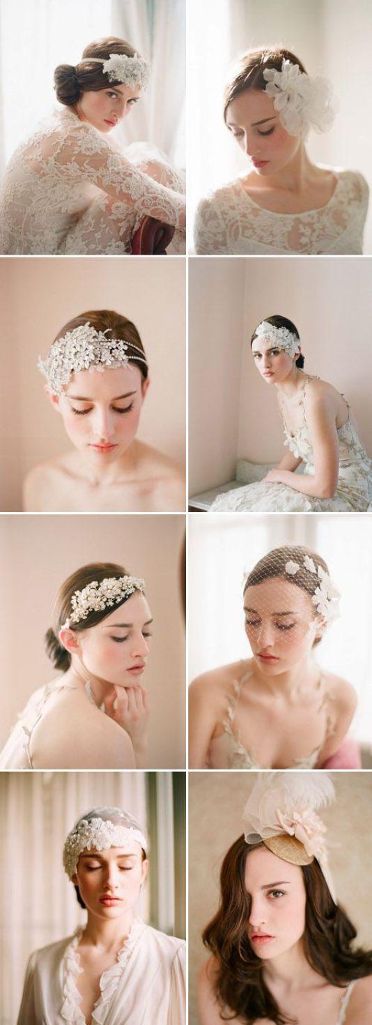 accesorios nupciales del pelo, cintas y velos de ramas y Miel | junebugweddings.com: