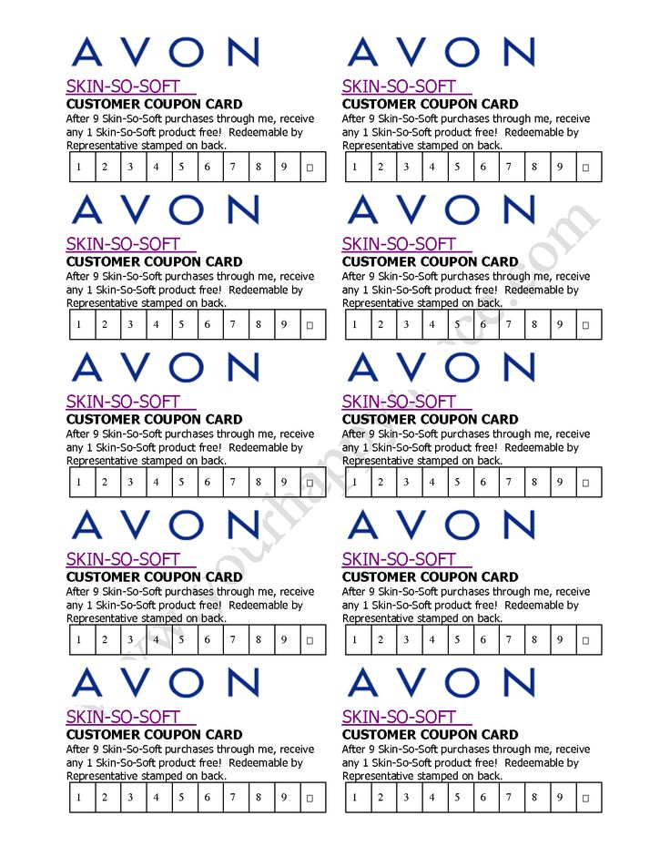 Avon skin so soft coupon card avon by becca