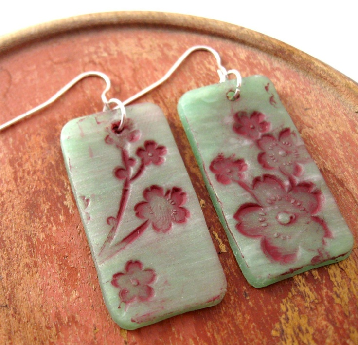 Jade earrings Asian style burgundy floral, handmade jade jewelry by theshagbag o