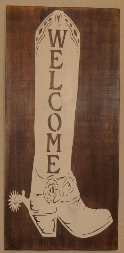 Welcome Boot – wall hanging – western decor