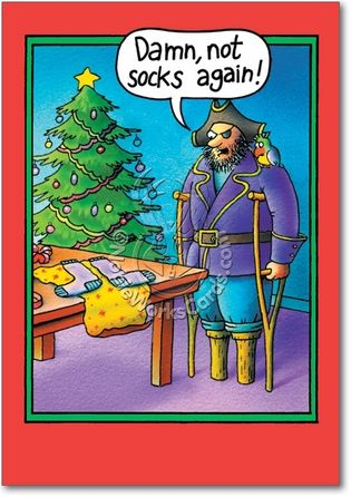 Peg Leg Socks Inappropriate Humor Merry Christmas Greeting
