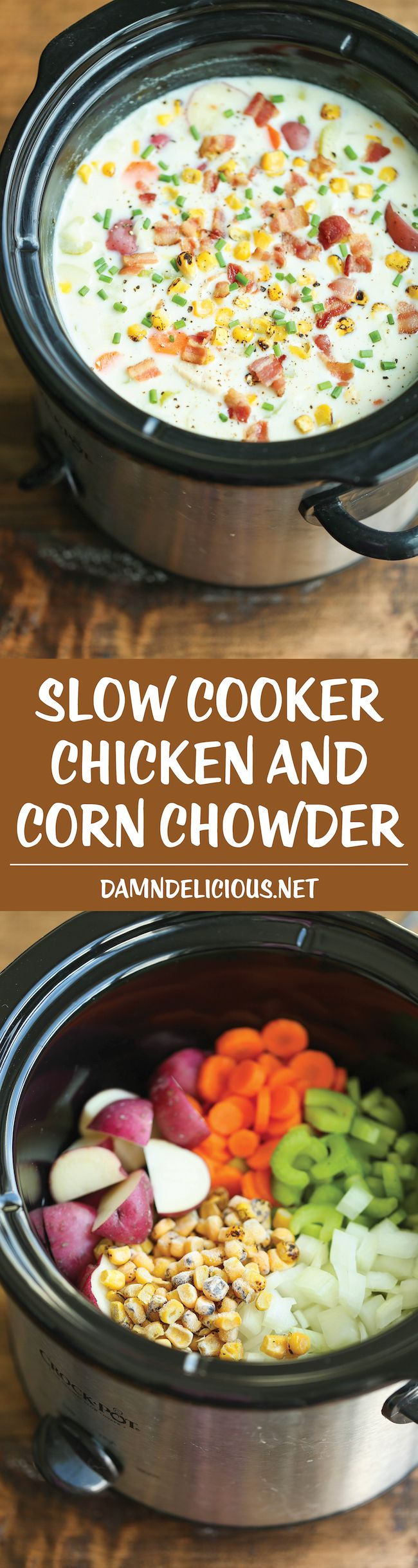 Slow Cooker Chicken and Corn Chowder – Such a hearty, comforting and CREAMY soup, made right in the cr