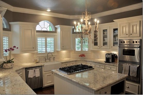 kitchens with gray walls and white cabinets | kitchen with white cabinets, white and light gray granite counters …