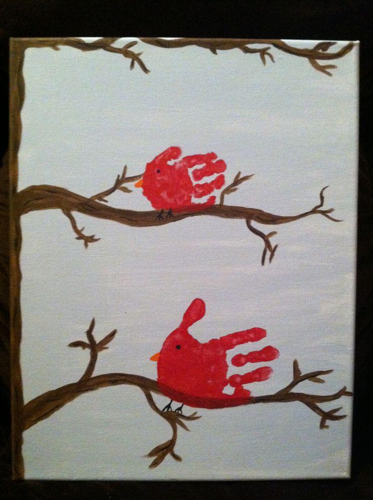 Handprint Cardinal Canvas Things I Have Made