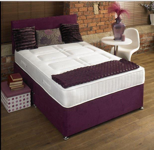 Prestige 4ft 6in Double Divan Bed Base In Aubergine Chenille Fabric