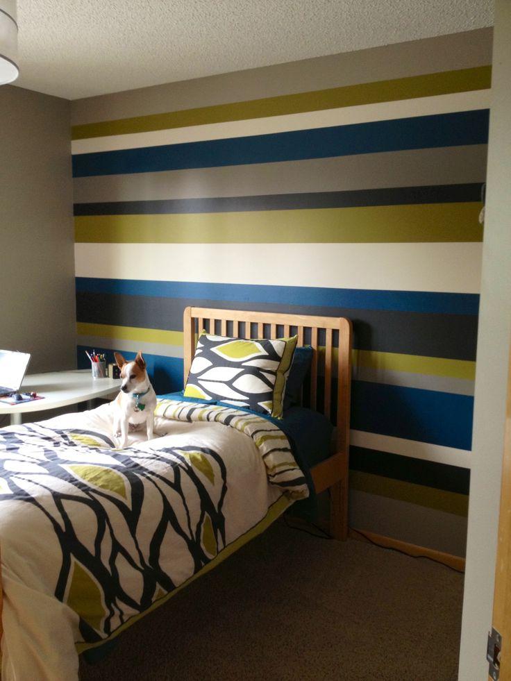 Striped Walls Teenage Boy Bedroom Home Decor