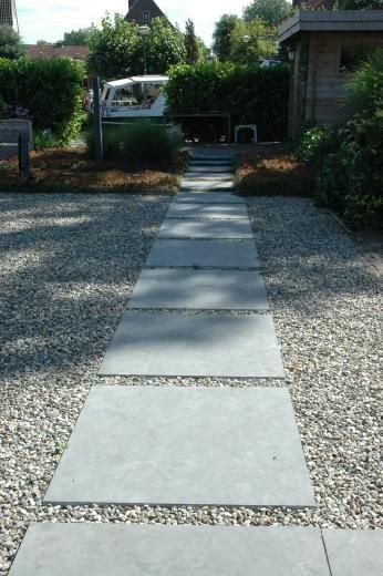 Simple Concrete Pavers With Gravel Garden Paths That We