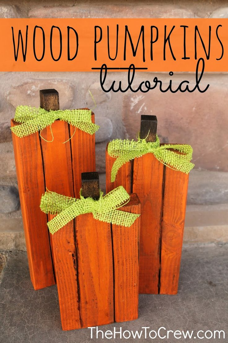 DIY Wood Pumpkin Tutorial from.  A quick, easy project and so cute for fall!