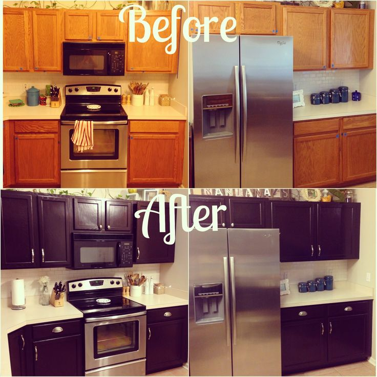 Kitchen Makeover for about $100! Give your orange oak cabinets a facelift using General Finishes Java Gel Stain.