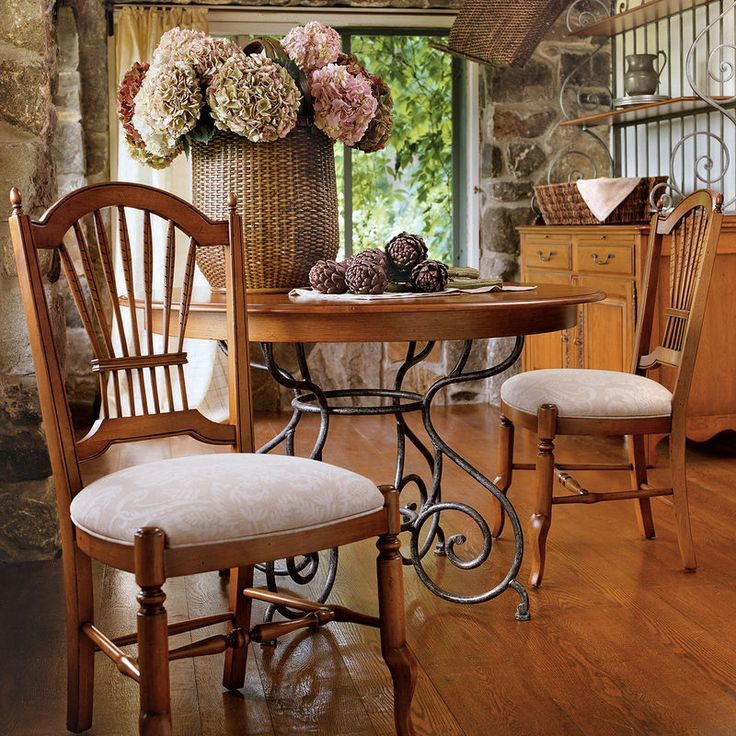 46 Small Brittany Dining Table With Wrought Iron Base