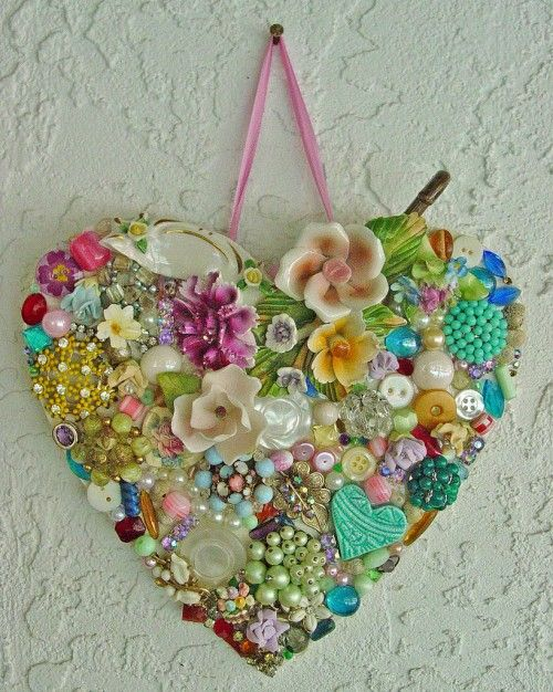 lovely heart made of random pieces of jewelry.