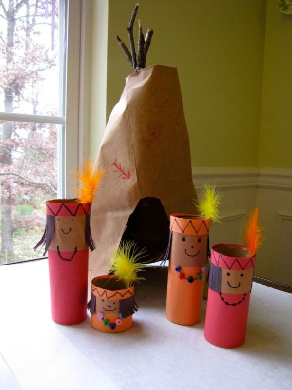 This is supposed to be a Thanksgiving craft, but as we will be studying American Indians and their relationships with early Pilgrims I think this would be a fun activity for the girls. I would imagine you could easily make some Pilgrims and a ship too!: