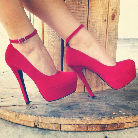 The Queen of Hearts will be wearing these red high heels underneath her dramatic dress. The color red is her signature color, and