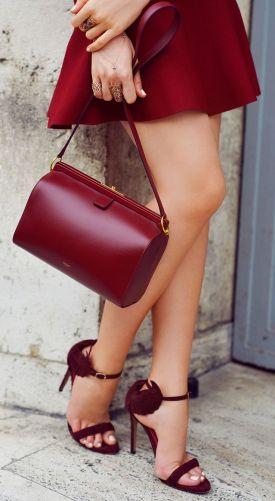 Stuart  Weitzman ~ Leather Handbag + Heeled Sandals,  Marsala