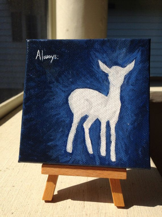 Doe Patronus 4×4 Acrylic on Canvas with 5″ easel by WallflowerBlossoms, $25.00 I just started a shop on etsy. Please visit and