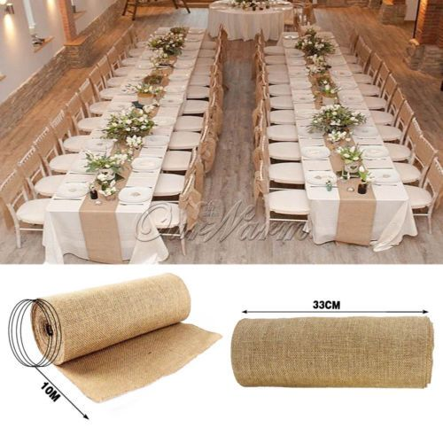 natural party decorations   My Web Value 10M Hessian Burlap Table Runners Vintage Rustic Natural