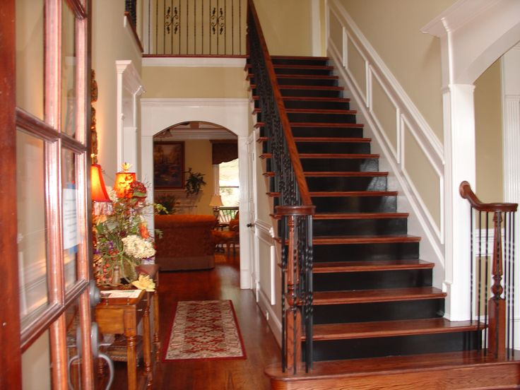 Black Stair Risers Stained Treads Some Day Pinterest