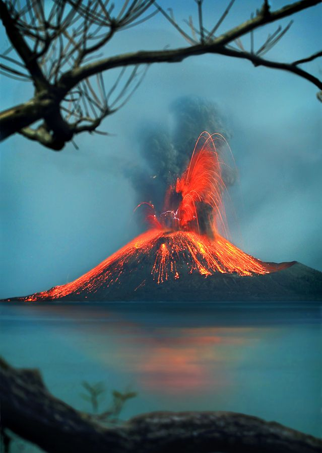 Krakatoa, or Krakatau, in the Sunda Strait between the islands of Java and Sumatra in Indonesia. Photo © Mpe'- Indra Prameswara: