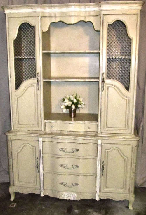 Vintage French Country Hutch / Dresser / Bookcase / China Cabinet; Refinished in