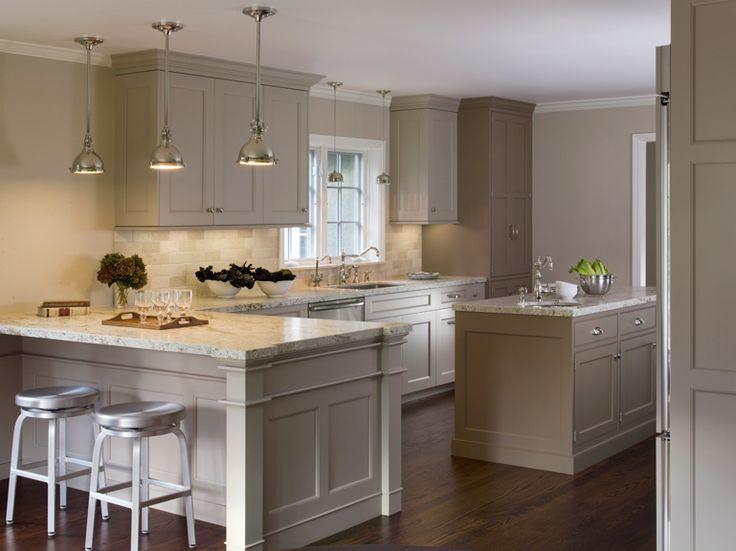 Greige Cabinets + Yoke Pendants + Aluminum Stools