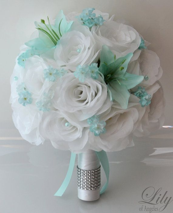 """17 Piece Package Wedding Bridal Bride Maid Of Honor Bridesmaid Bouquet Boutonniere Corsage Silk Flower TIFFANY BLUE WHITE """"Lily of"""