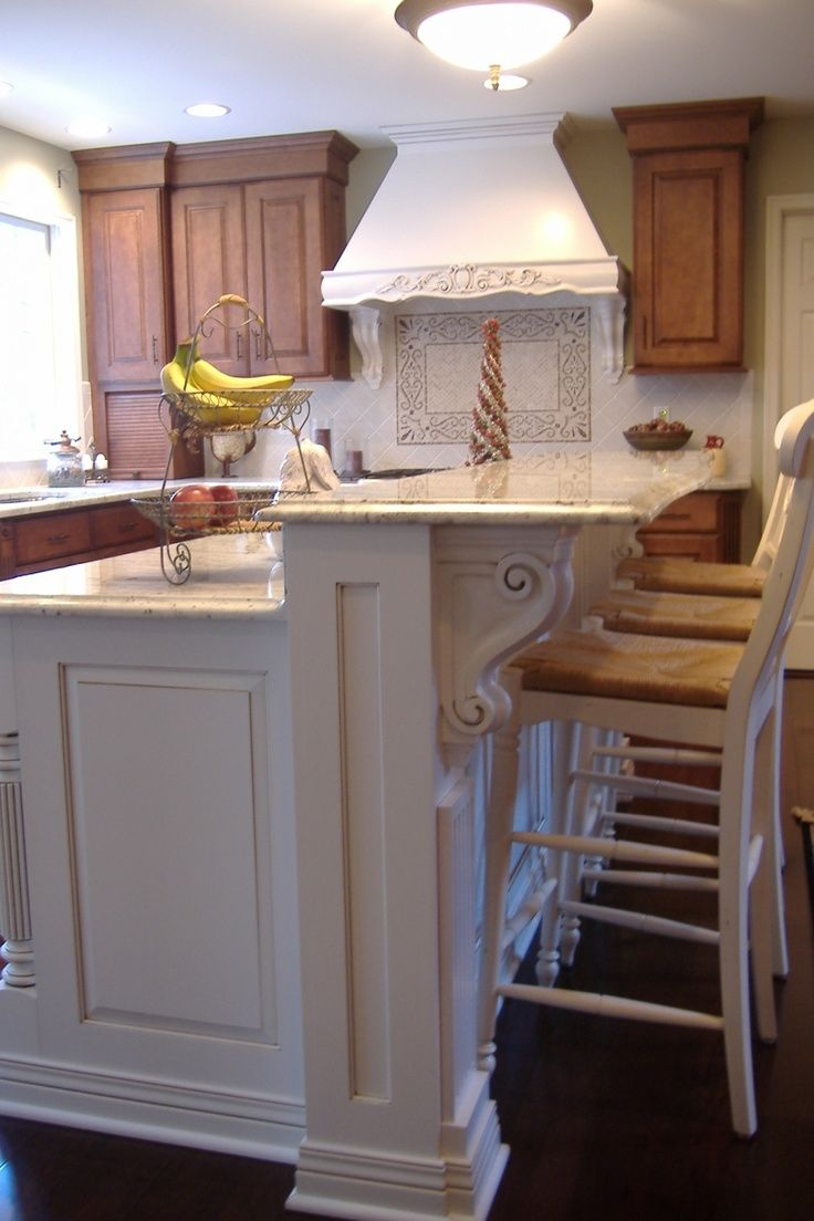 Splendid Houzz Kitchen Islands With Corbels And Vintage Wood Counter Stools In White Also 2 Tier