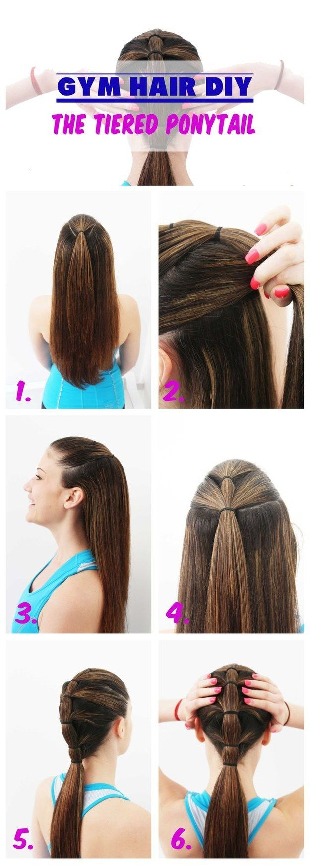 A tiered ponytail will keep everything in its rightful place.   18 Ingenious Hair Hacks For The Gym