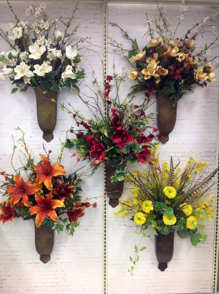 1000+ images about FLOWER WALL SCONES on Pinterest | Horns ... on Wall Sconce Floral Arrangements Arrangement id=12272