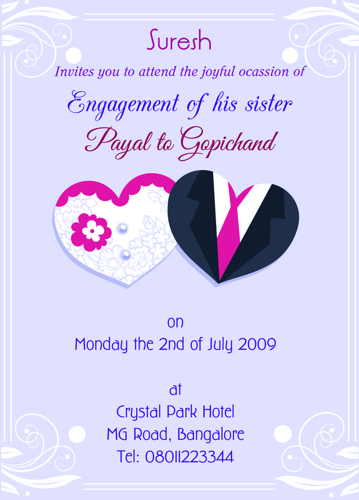 Engagement invitation card for sister with wordings check