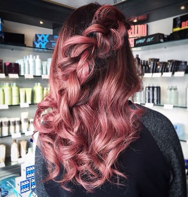 Rose Gold Hair And Loose Braid RedBloom Salon Awesome