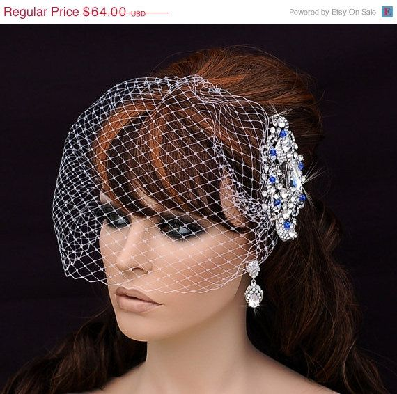 SALE Blue Crystal Comb And Birdcage Veil Bird Cage Veil