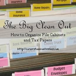 The Big Clean Out: File Cabinets and Tax Papers via Cornerstone Confessions