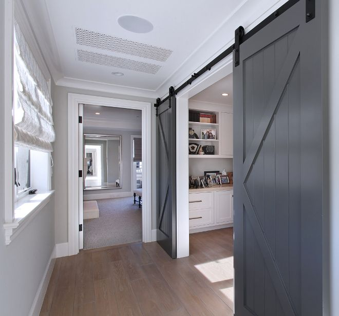 barn doors conceal a home office the charcoal gray barn on commercial office paint colors id=66028