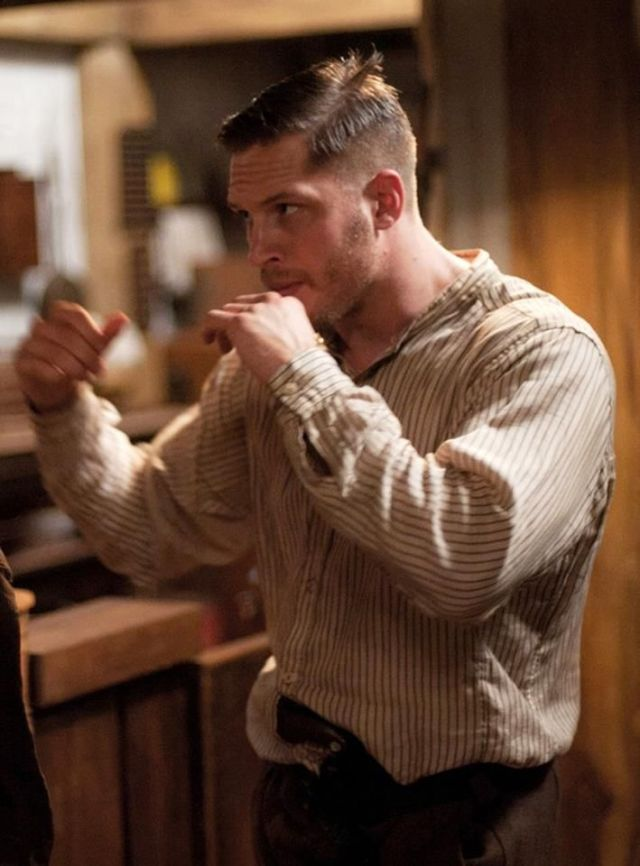 HAIRCUT  Tom Hardy on the set of Lawless Fashionable