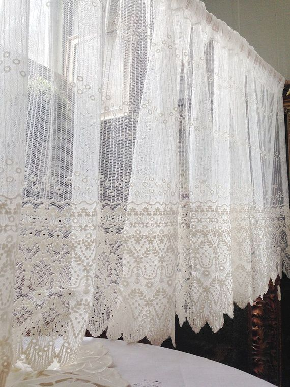 White Embroidery Lace Valance Cafe Curtain One Panel 59