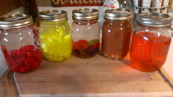 Homemade candy flavor vodkafrom left to rtatomic