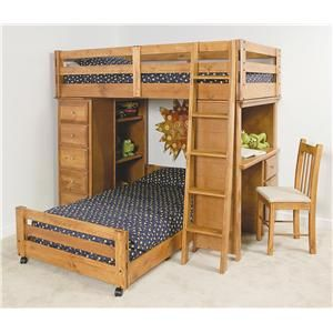 Trendwood Visions TwinTwin Lofted Bunk Bed With Desk And
